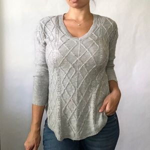 Rue21   Gray Argyle Knit Sweater Sz Med